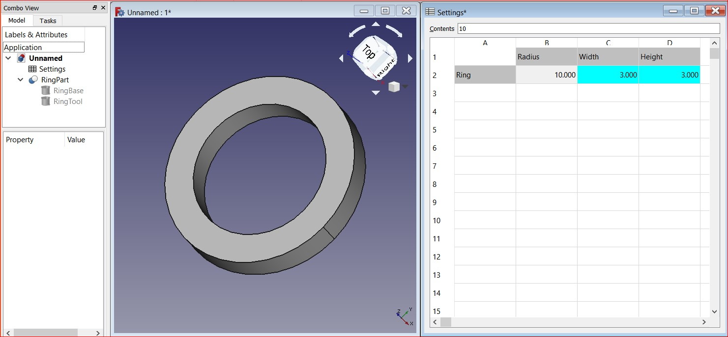 FreeCAD with SettingsSheet
